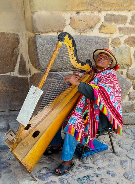 A blind musician at Ollantaytambo.