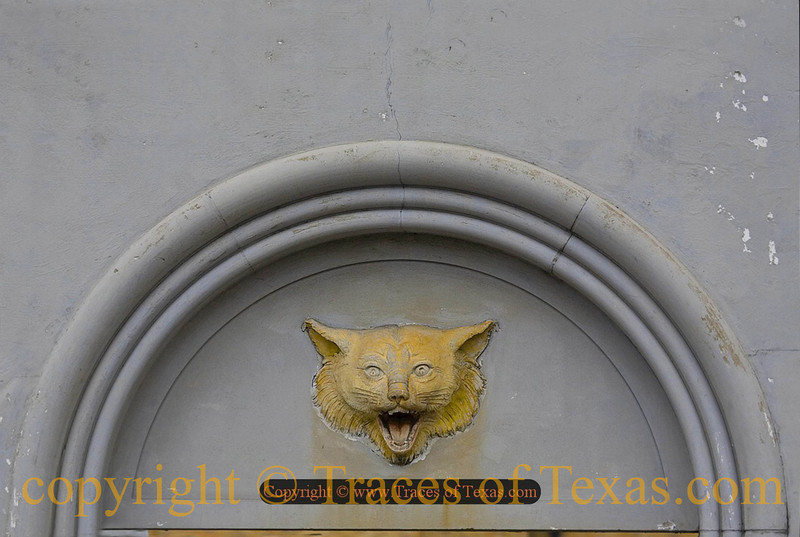 Title:   Friday Night Lights<br /> <br /> Comments: High school football in Texas is a very important part of our collective upbringing. This bobcat adorns the outside of the ancient high school stadium in Refugio, home of the perennial state power Bobcats.<br /> <br /> Location: Refugio, Texas