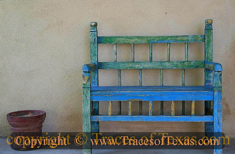Title:   Blue Bench <br /> <br /> Comments: A random encounter with blueness. <br /> <br /> Location: Marathon, Texas