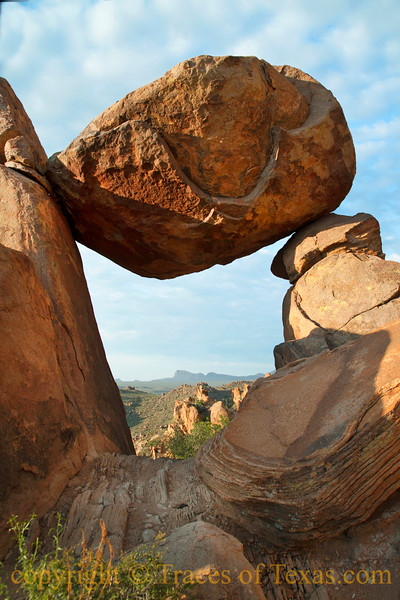 Title:   This Boulder Dreams of a Strong Wind and a Steep Hill and a Volkswagon Beetle at the Bottom of It.<br /> <br /> Comments: <br /> <br /> Location: Big Bend National Park