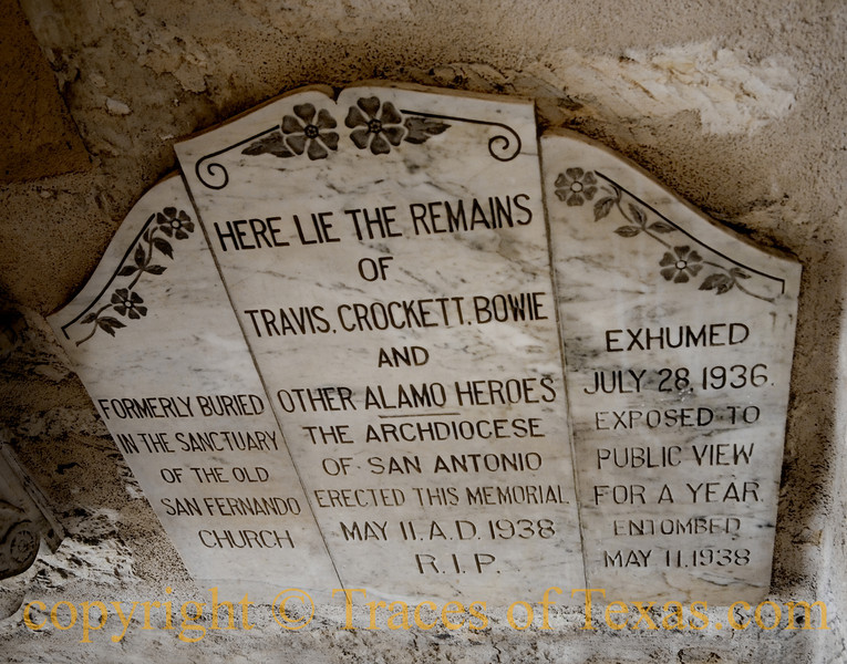 Title:  It's a Lie<br /> <br /> Comments:  The remains of Travis, Crockett, and Bowie most assuredly do not rest in the Old San Fernando church in San Antonio. <br /> <br /> Location: San Antonio