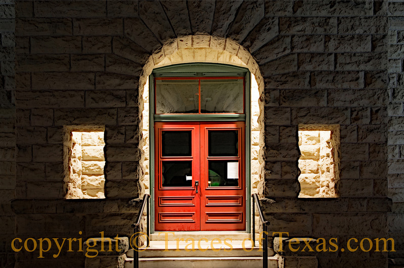 Title:  McCullough County Courthouse # 1<br /> <br /> Comments:  When is the last time you really looked at the door to the county courthouse?<br /> <br /> Location: Brady