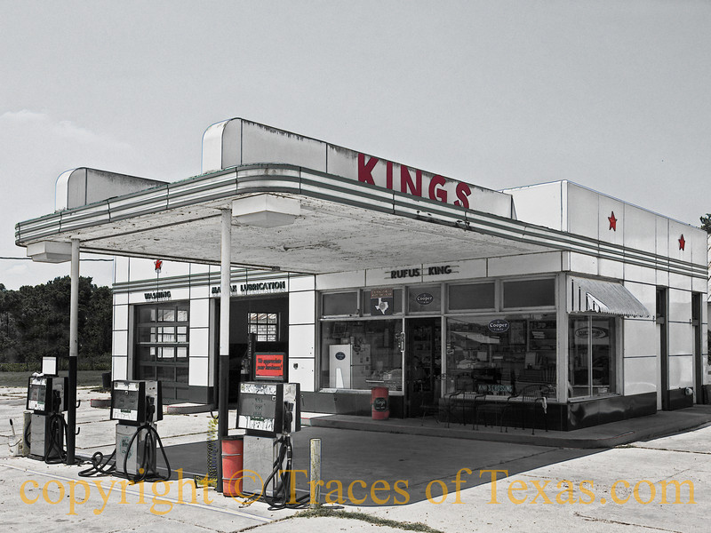 <br>Title: The Kings of Gonzales  Comments: Mr. King, the owner of this old Texaco that is now fiercely independent, told me the story of his gas station, which has been in his family for about 60 years. It was built by his grandfather, passed down to his father, and then on to him. He intends to give it to his son. It is one of the few places on earth that still offers full service and comes highly recommended. They don't make 'em like this ---- or like Mr. King ---- any more.   Location: Gonzales