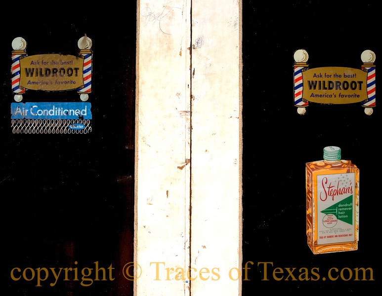 Title: Barber Shop Blues<br /> <br /> Comments: I wonder how long ago these stickers were placed on this barber shop door?<br /> <br /> Location: Marshall