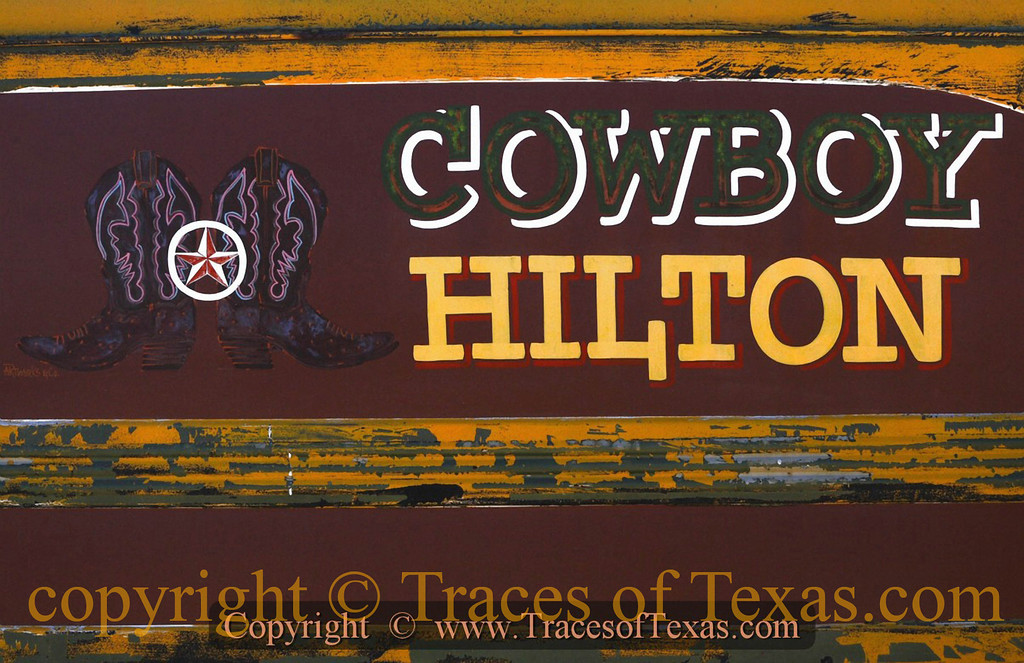 Title:   Cowboy Hilton<br /> <br /> Comments: At the Frank X. Tolbert World Championship Chili Cookoff in Terlingua.<br /> <br /> Location: Terlingua, Texas
