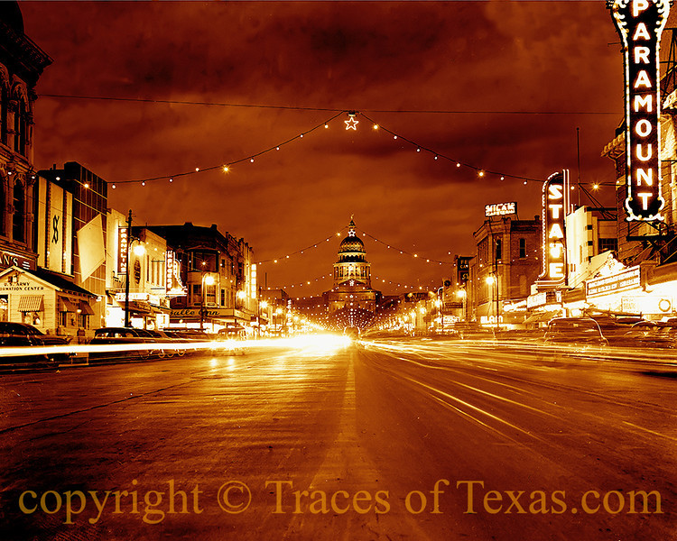 Title:  Vision of old Austin<br /> <br /> Comments: This photo was taken in 1947. I purchased it from the Austin History Center, spent hours cleaning it up, and tinted it orange (it was originally black and white) for the Vince Young Steakhouse in Austin. It is now on their walls. <br /> <br /> Location: Austin