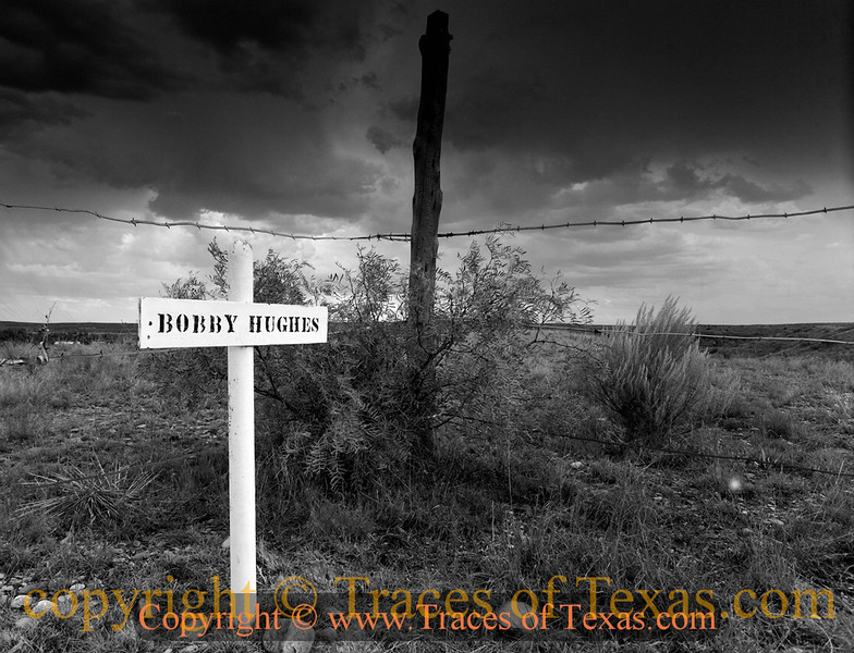 Title:   Where they Buried Bobby Hughes<br /> <br /> Comments: Grave site in the Boot Hill cemetery. <br /> <br /> Location: Old Tuscosa, Texas