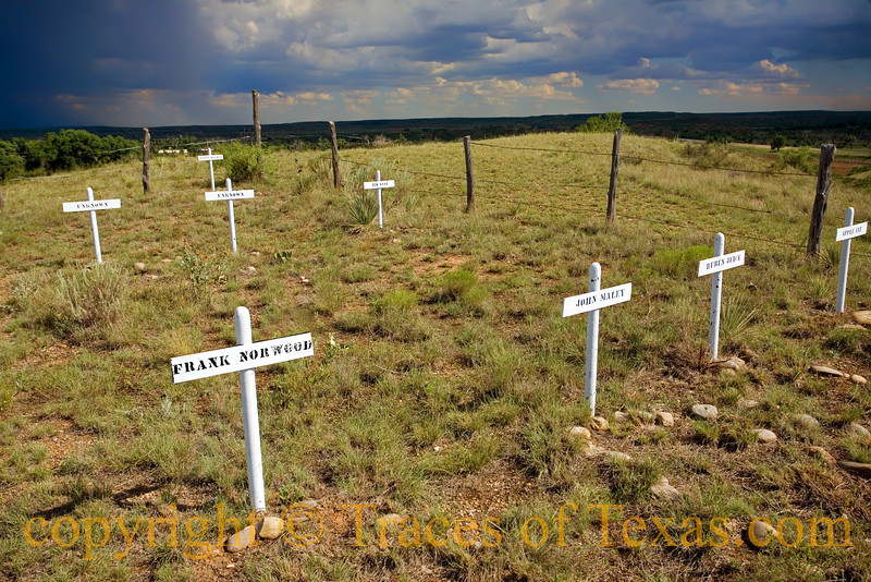"Title:  Buried on Boot Hill <br /> <br /> Comments: One of several ""Boot Hill"" cemeteries that dot the old west. Another is in El Paso. <br /> <br /> Location:  Old Tascosa"