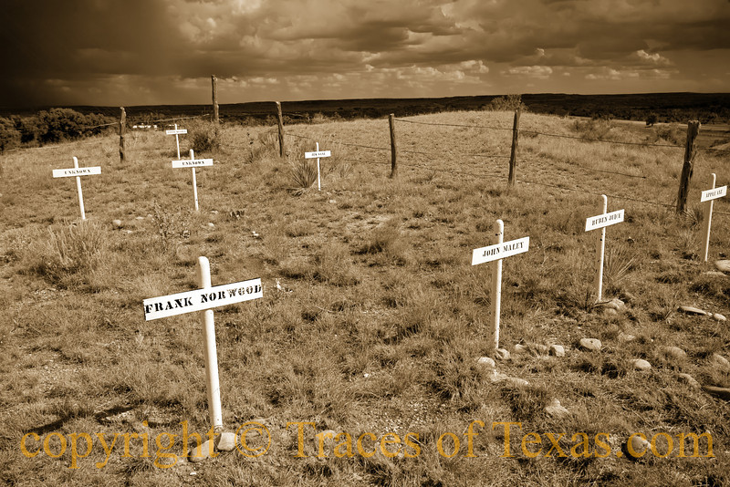 Boot Hill Cemetery in Sepia, Old Tuscosa