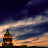 Title:  At the Twilight's Last Gleaming<br /> <br /> Comments:  That Star Spangled Banner yet waves over the Tower Life Building in San Antonio.  Built in 1929, it was the tallest building west of the Mississippi for awhile. <br /> <br /> Location:  San Antonio