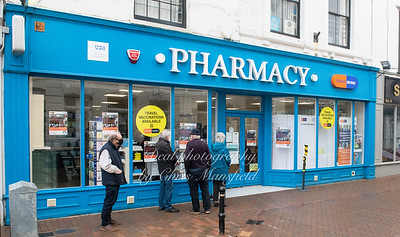 Feb' 1st 2021 . Queuing for the Covid vaccination at the Clockwork pharmacy in Deal