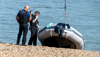 Oct' 8th 2021.  About 20 illegal migrants landed on the beach at midday today ...