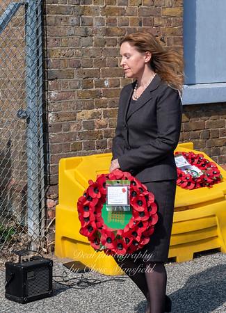 Natali Elphicke MP for Dover lays a wreath