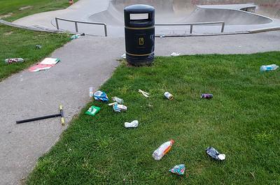 Aug 28th 2021 . Skateboard park litter ...  Bin remains empty