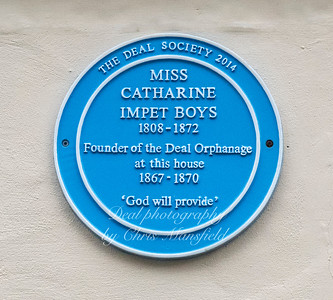 Blue plaque for Catherine Impet Boys .. founder of the Deal orphanage .. in Middle street