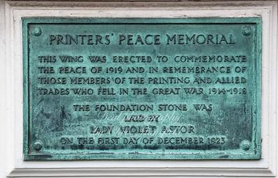 Printers great war  remembrance plaque ..  Lloyd court building , Deal