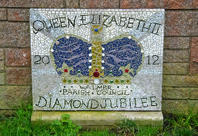 QE2 Diamond Jubilee mosaic,  put together by the local community  ...  This one is opposite The Strand Pharmacy