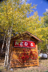 Log cagin and red bike  -Raymond, Colorado
