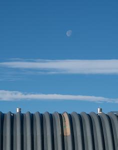 Moon over sheet metal building