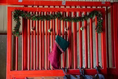 Christmas stocking on a barn stall