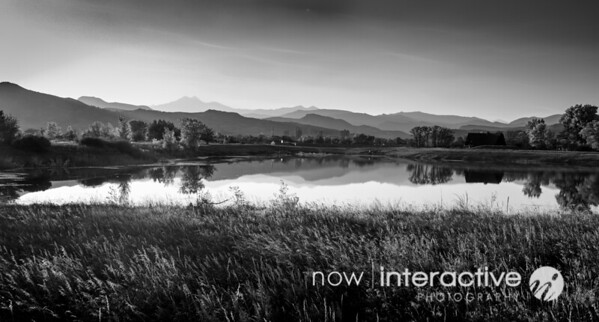 Mountain Ranges reflecting on lake in blacka and white - Hygene Colorado