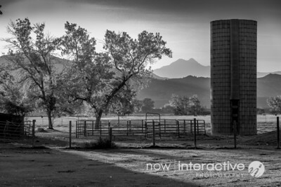 Silo and Longs Peak in black and white