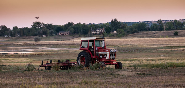 Tractor at rest after sunset
