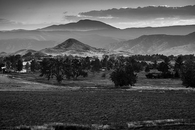 Haystack mountain after sunset in black and white