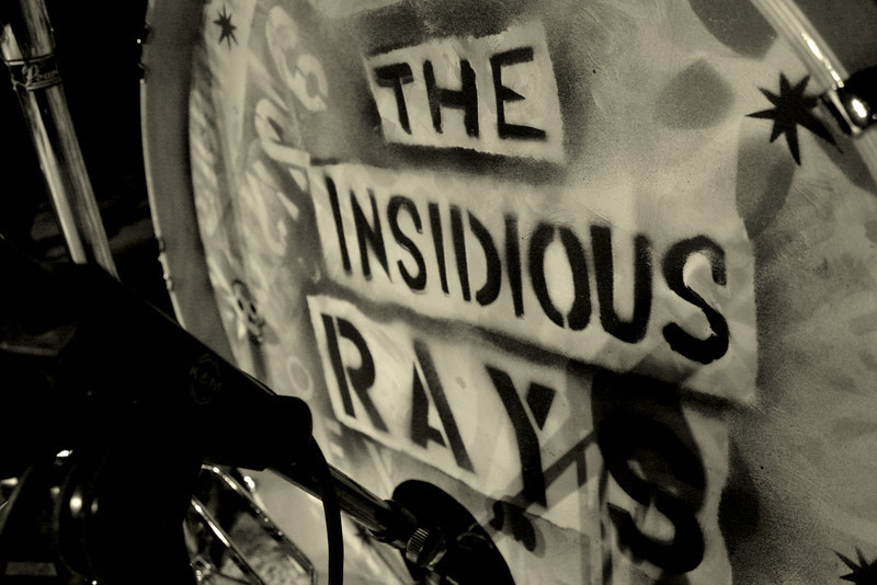 The Insidious Rays drum kit.<br /> Photograph by,<br /> Daniel Straine
