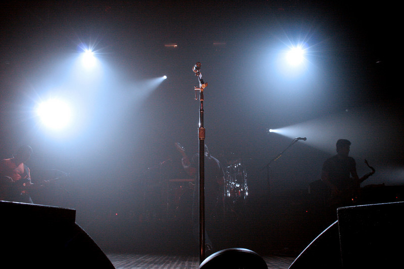 The microphone awaits the lead singers return.<br /> Photograph by,<br /> Daniel Straine