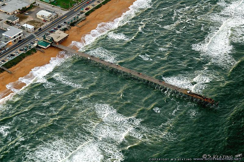 Flagler Pier at Sunset with rough seas - Flagler Beach, Florida