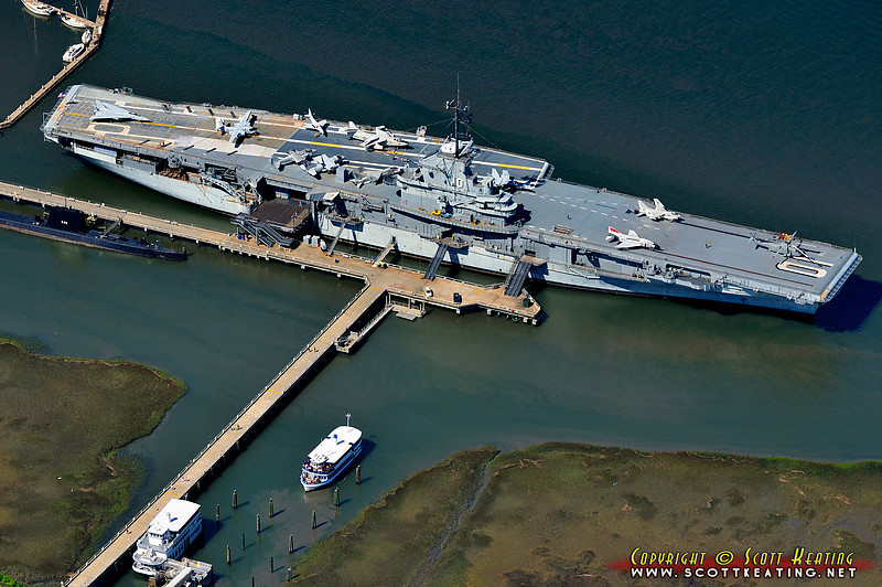 The USS Yorktown (CV-10 1943) at Patriot's Point Naval & Maritime Museum.  Also in view is USS Clamagore, SS-343 Balao-class submarine built in 1945