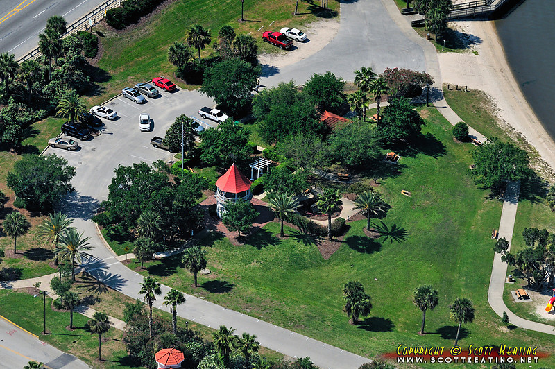 Southward view of Fortunato Park at the north-west corner of the Granada Bridge on the Halifax River - Ormond Beach, FL