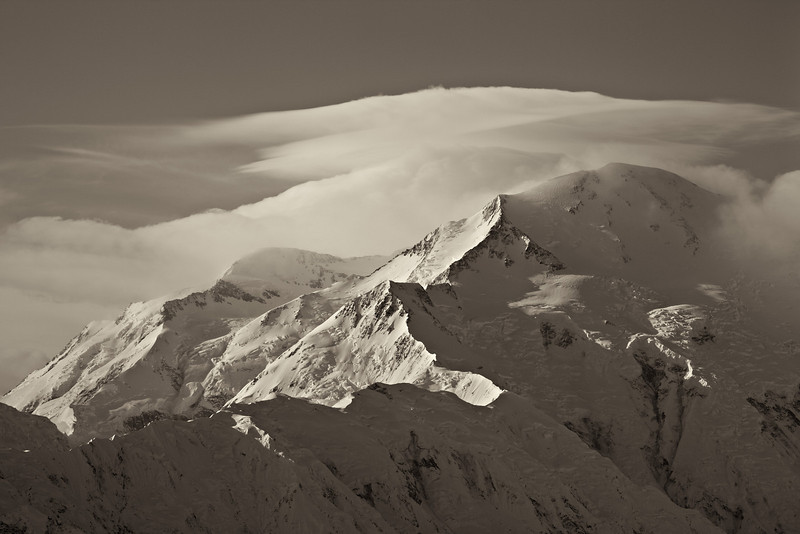 """""""Denali in Sepia""""<br /> <br /> We camped out at Wonder Lake in a tent. I just about froze, shivering all night long. The next morning, """"The Mountain"""" came out from her shroud of clouds. Maybe it was worthwhile?<br /> <br /> Taken in Denali National Park, Alaska, USA."""