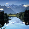 Mt Cook reflected in Lake Matheson at dawn, New Zealand