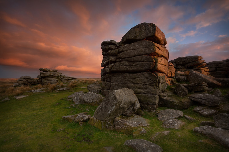Combestone Tor at sunset, Dartmoor, Devon