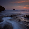 Trebarwith Strand at sunset, Cornwall