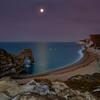 Durdle Door dawn moon, Dorset