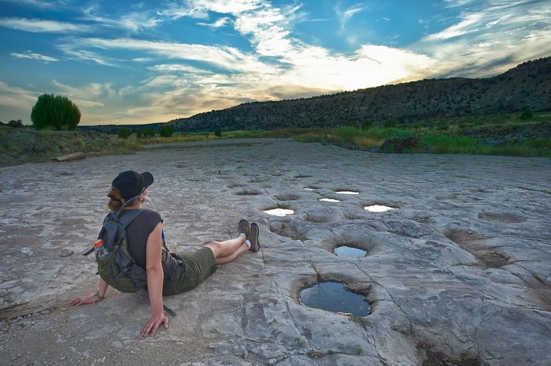 Morrison Formation dinosaur trackway site. Apatosaurus sp.