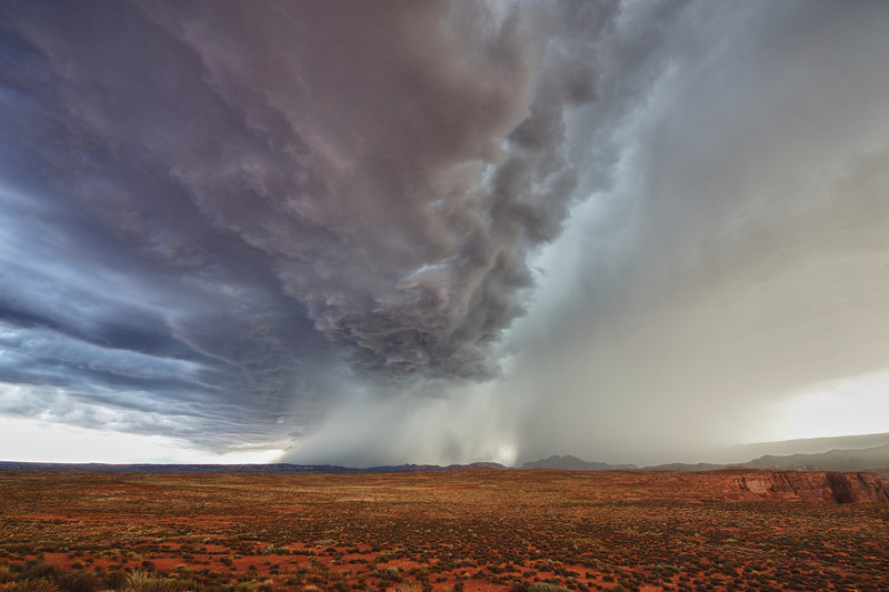 A storm rolling across the desert south of Page, Arizona