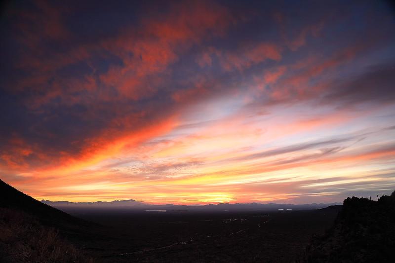 Sunset from Gates Pass, near Tucson, Arizona