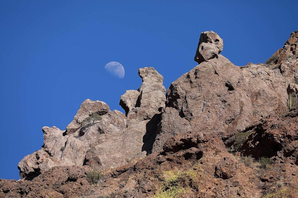Moon over canyon rocks, Organ Pipe Cactus NM, Arizona