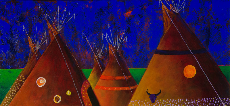 The Gathering (acrylic, 17x32, framed) - $500