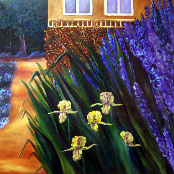 Yellow Irises (oil, 42x42) - NFS