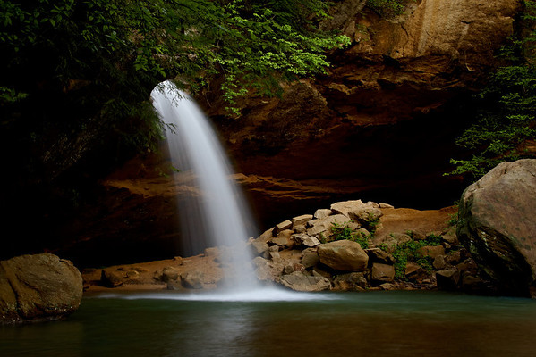 """""""Highlighted Lower Falls""""<br /> <br /> Down deep in a canyon at Hocking Hills State Park, Ohio. I purposely let the shadows go dark so that the natural light on the falls and greenery would be lit."""