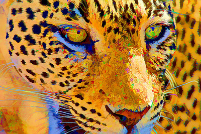 """Leopard Serigraph""  A leopard becomes digital art through the magic of the Topaz Simplify filter for Photoshop. The original photo of the leopard was taken in the Samburu National Reserve, Kenya, Africa."