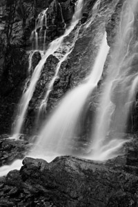 """Tangle Falls Detail in Black and White""  I fell in love with this waterfall in Jasper National Park. It has many leaps, with multiple falls on each level. This is just one small portion."
