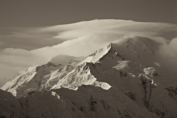 """Denali in Sepia""<br /> <br /> We camped out at Wonder Lake in a tent. I just about froze, shivering all night long. The next morning, ""The Mountain"" came out from her shroud of clouds. Maybe it was worthwhile?<br /> <br /> Taken in Denali National Park, Alaska, USA."