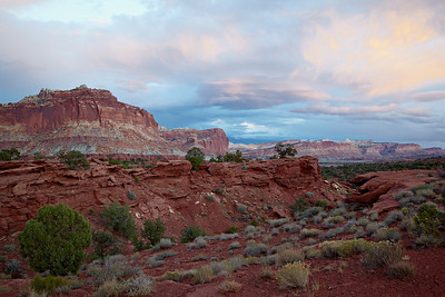 """Evening Clouds at Capitol Reef""  Clouds over the rock formations of Capitol Reef National Park, Utah, USA."