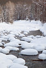 """""""Snowy Pillows""""<br /> <br /> Snow forms pillows on the rocks after a winter storm, on the Dolores River. Taken in the San Juan National Forest, Colorado, USA"""
